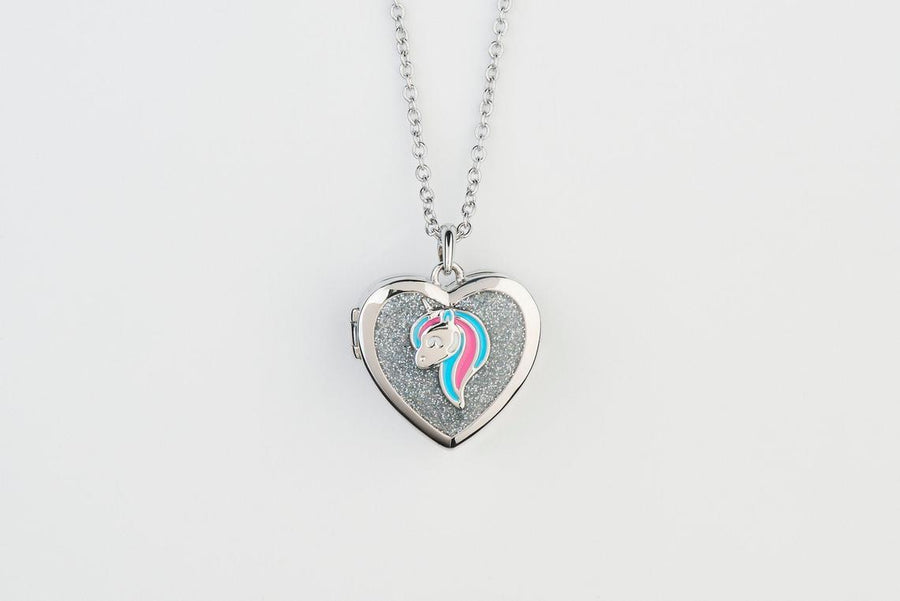Unicorn Glitter Locket Silver