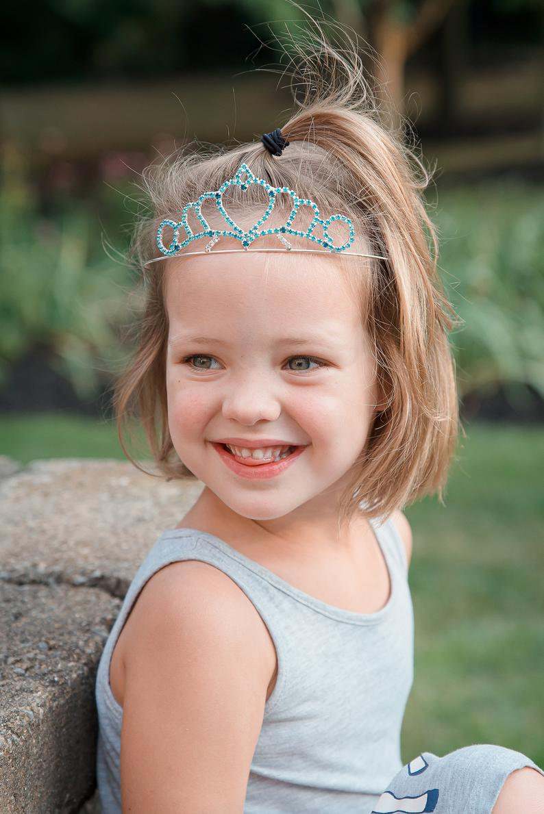 Princess Heart Tiara Two-Toned Blue