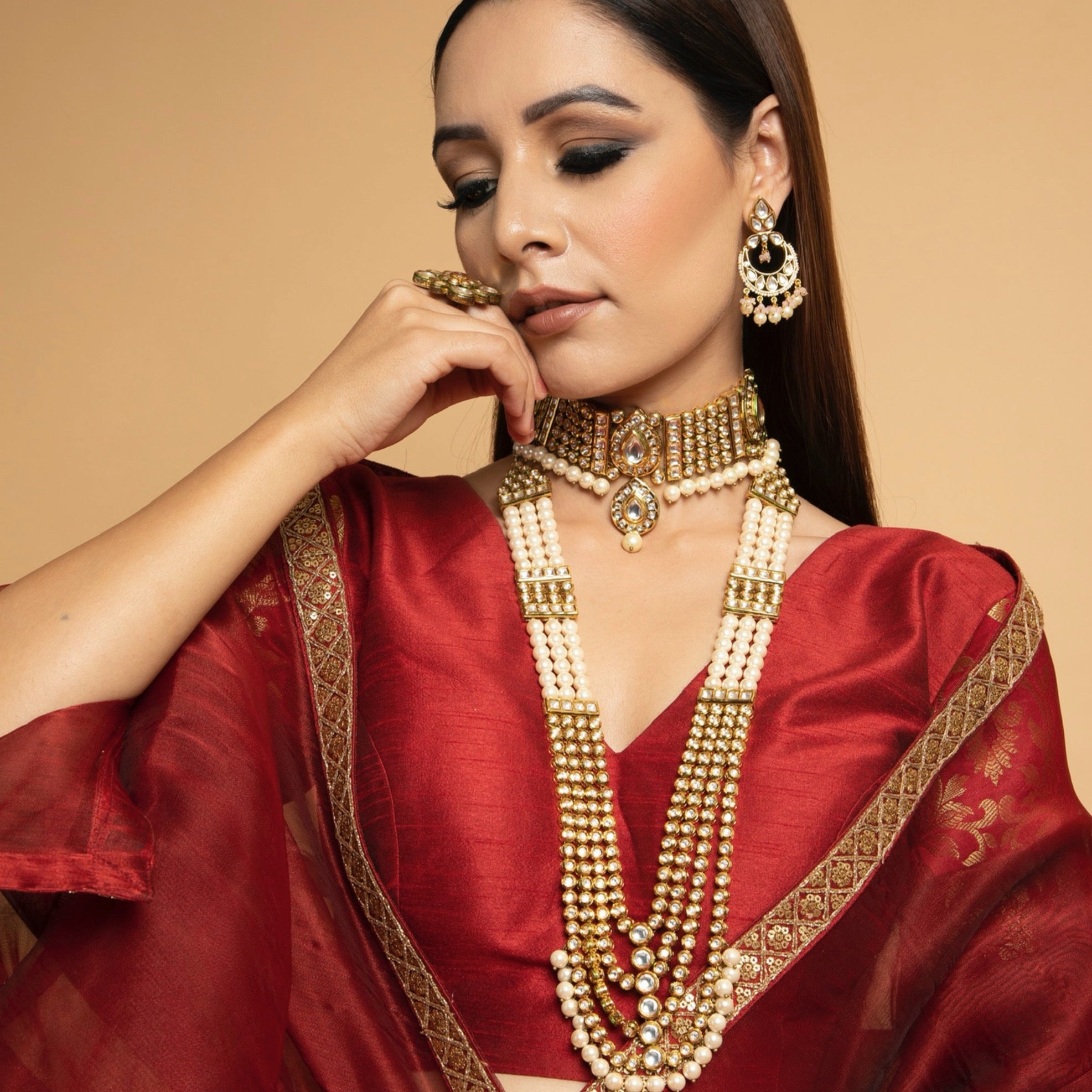KUNDAN CHOKER AND LONG HAAR SET