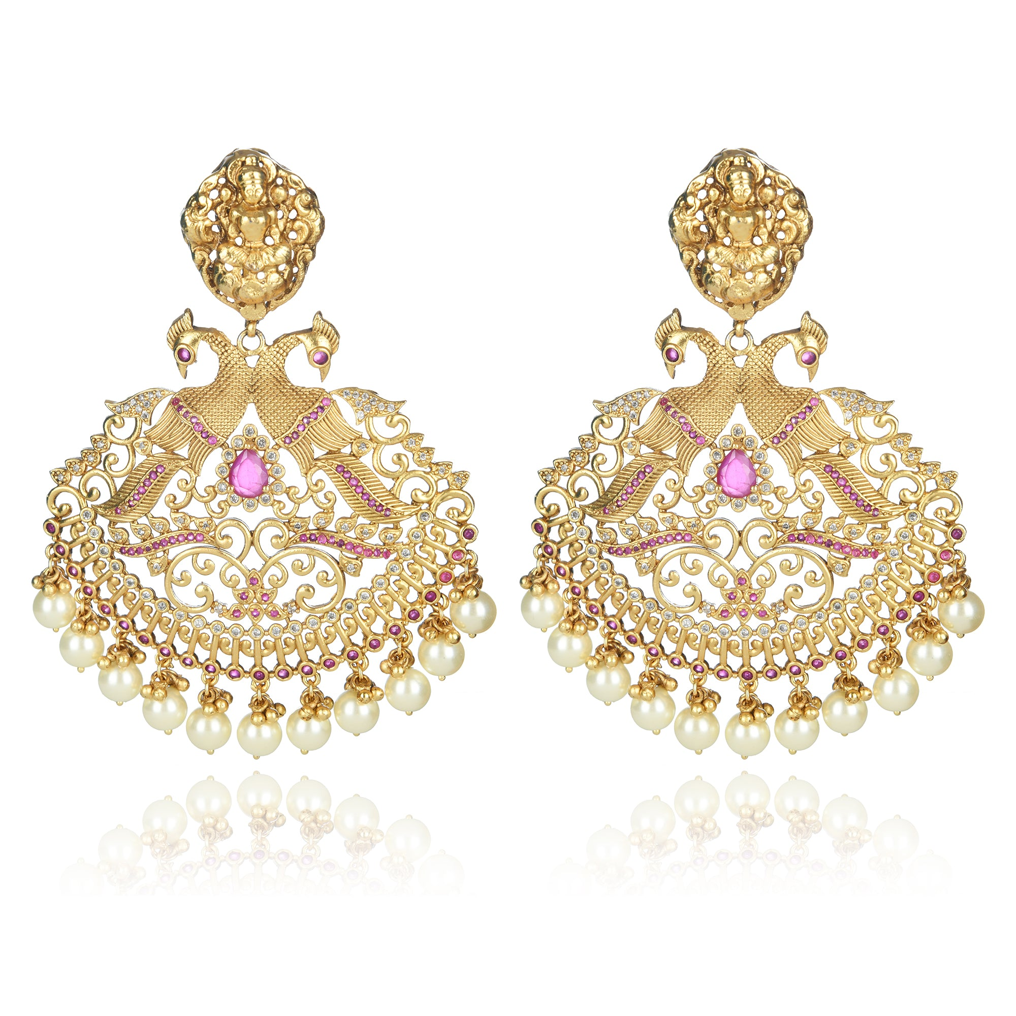 GOLD PLATED PEACOCK STYLED TEMPLE EARRING