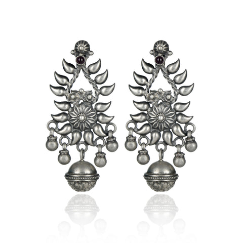 OXIDISED BALL EARRING