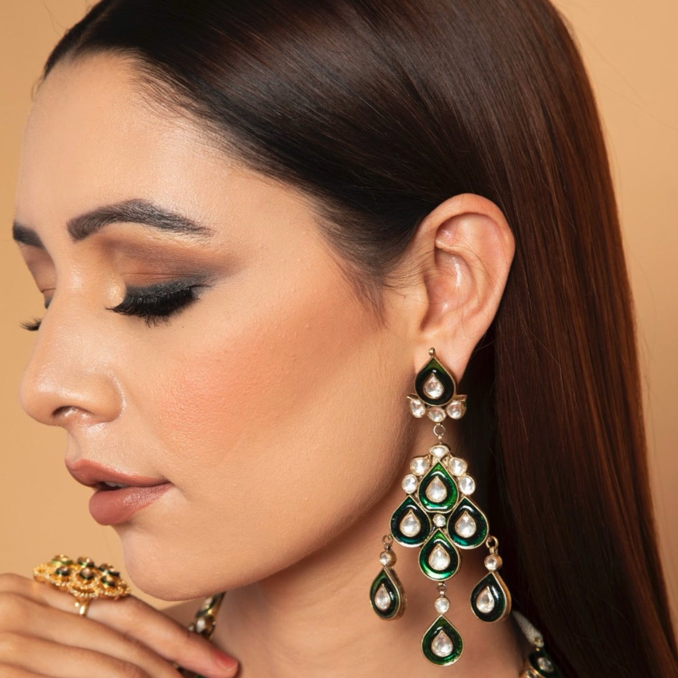 THREE LAYERED KUNDAN HAAR SET