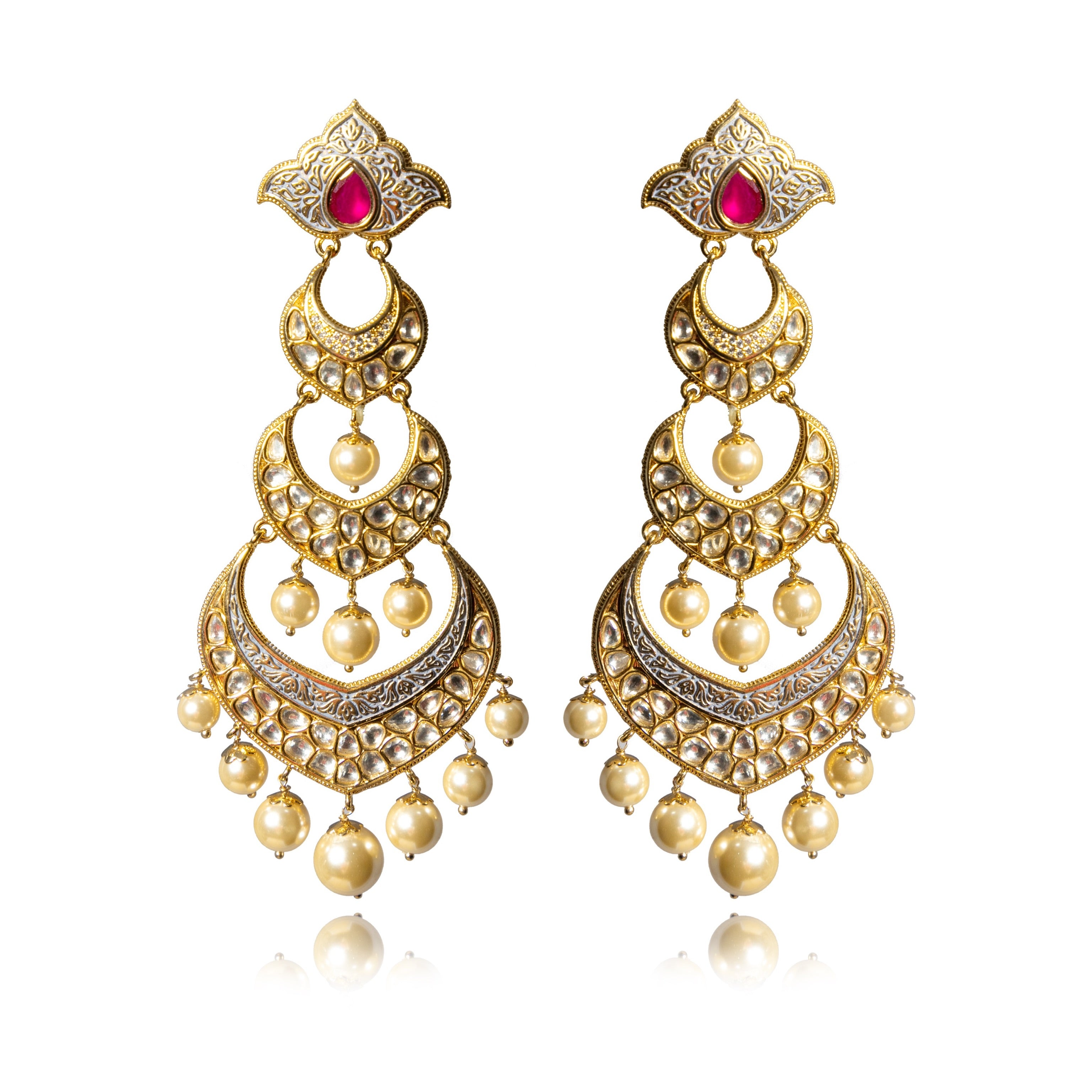 TRIPLE CHAND MEENAKARI EARRINGS