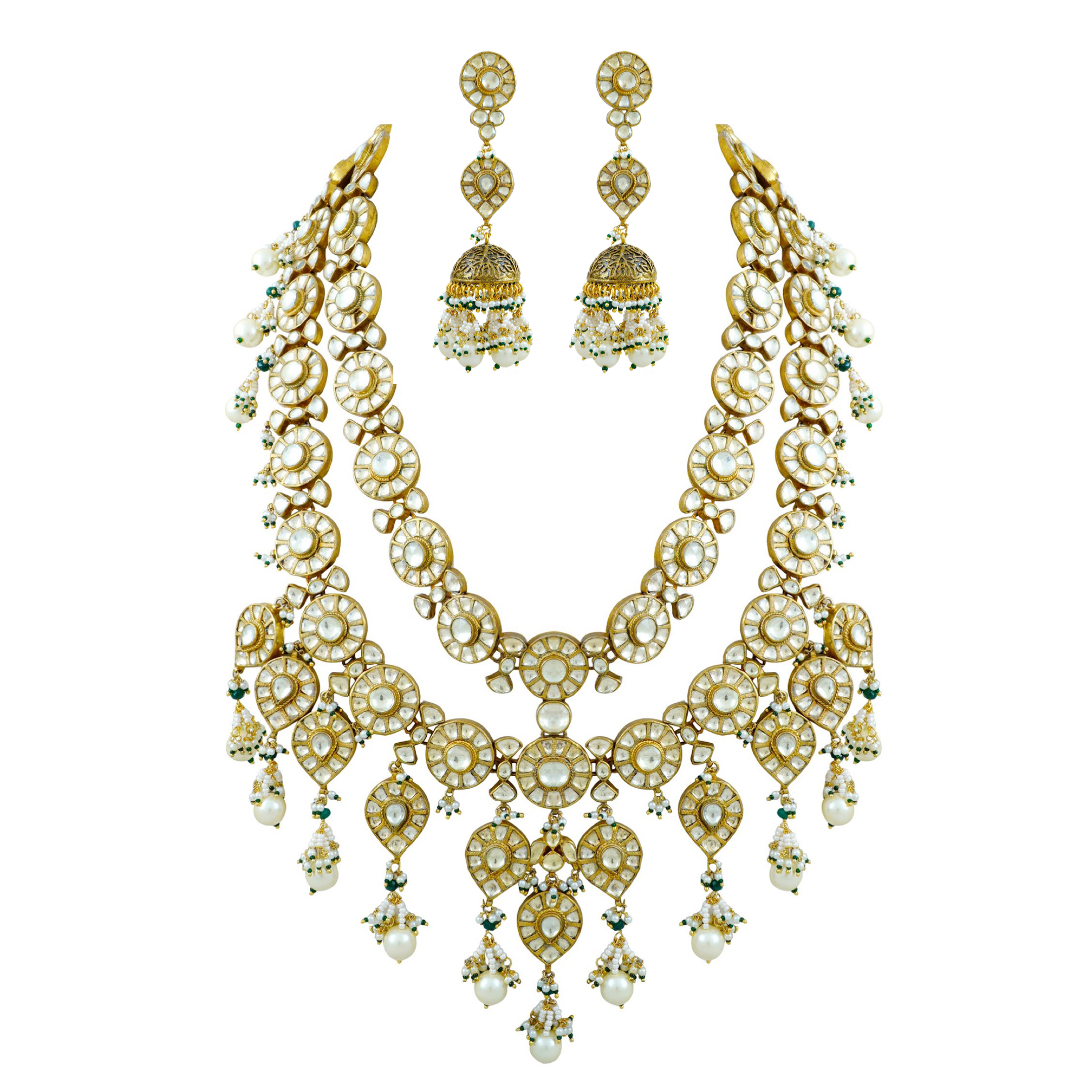 TWO LAYER KUNDAN HAAR SET