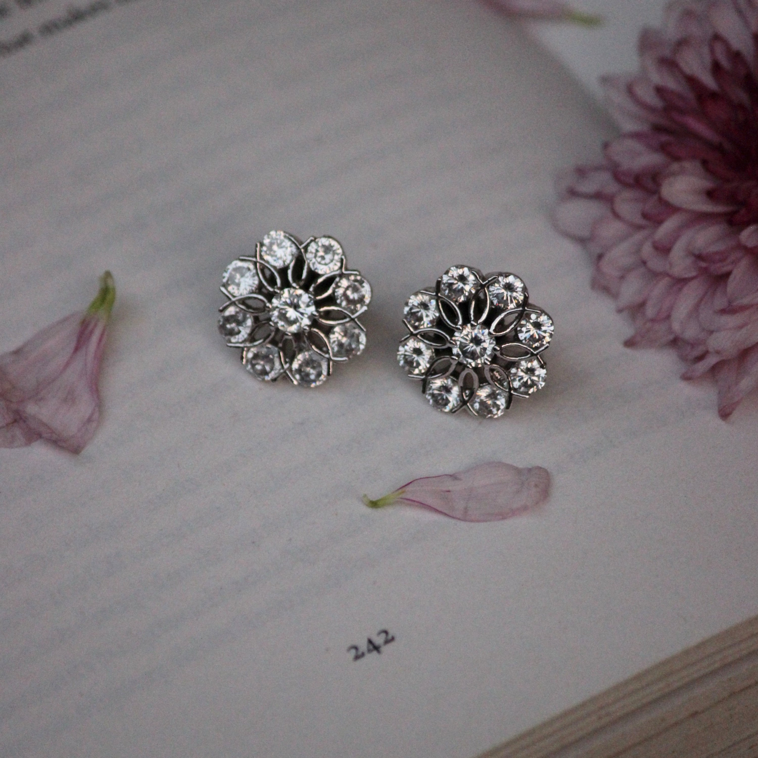 AMERICAN DIAMOND FLOWER STUDS