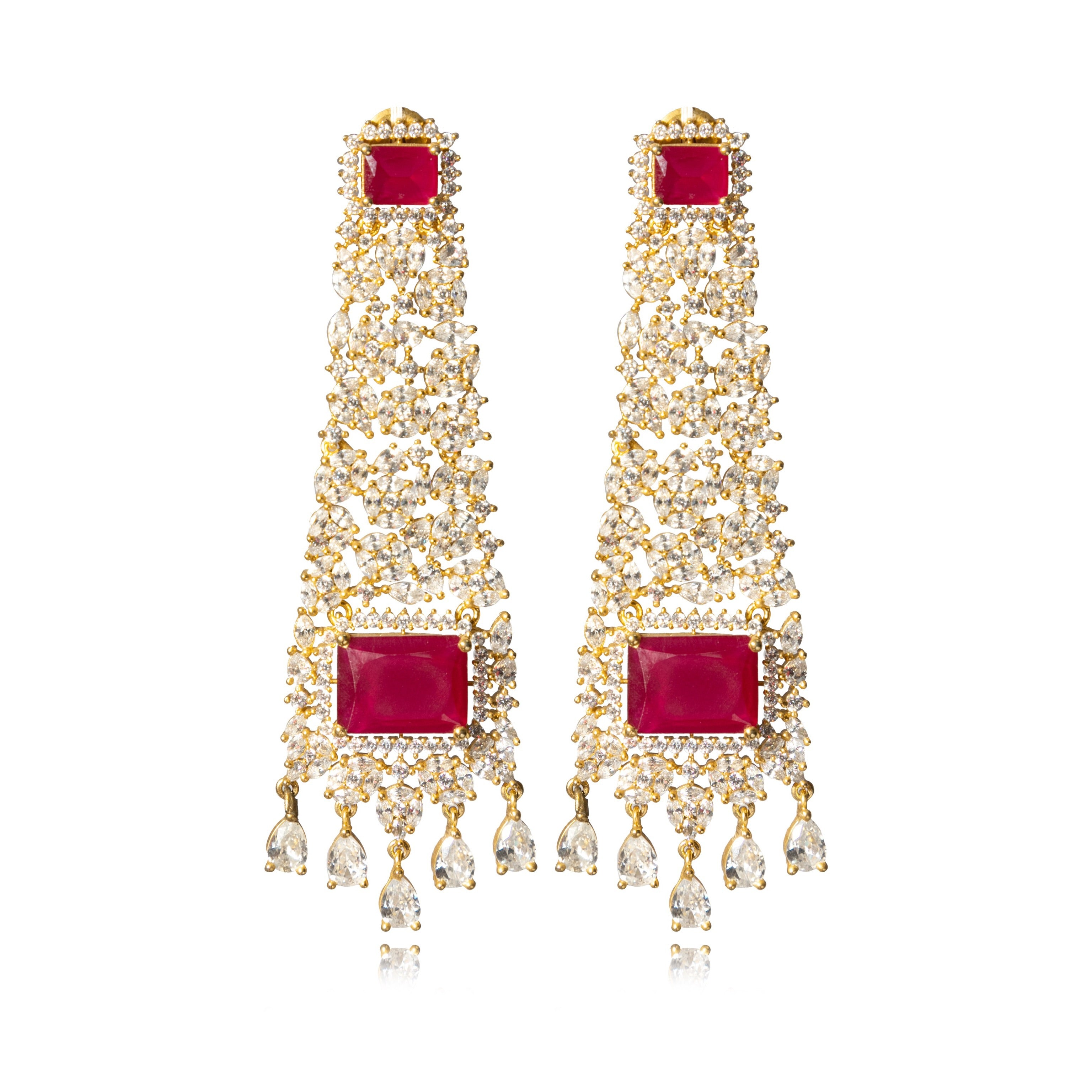 CHANDELIER STYLED RUBY EARRINGS