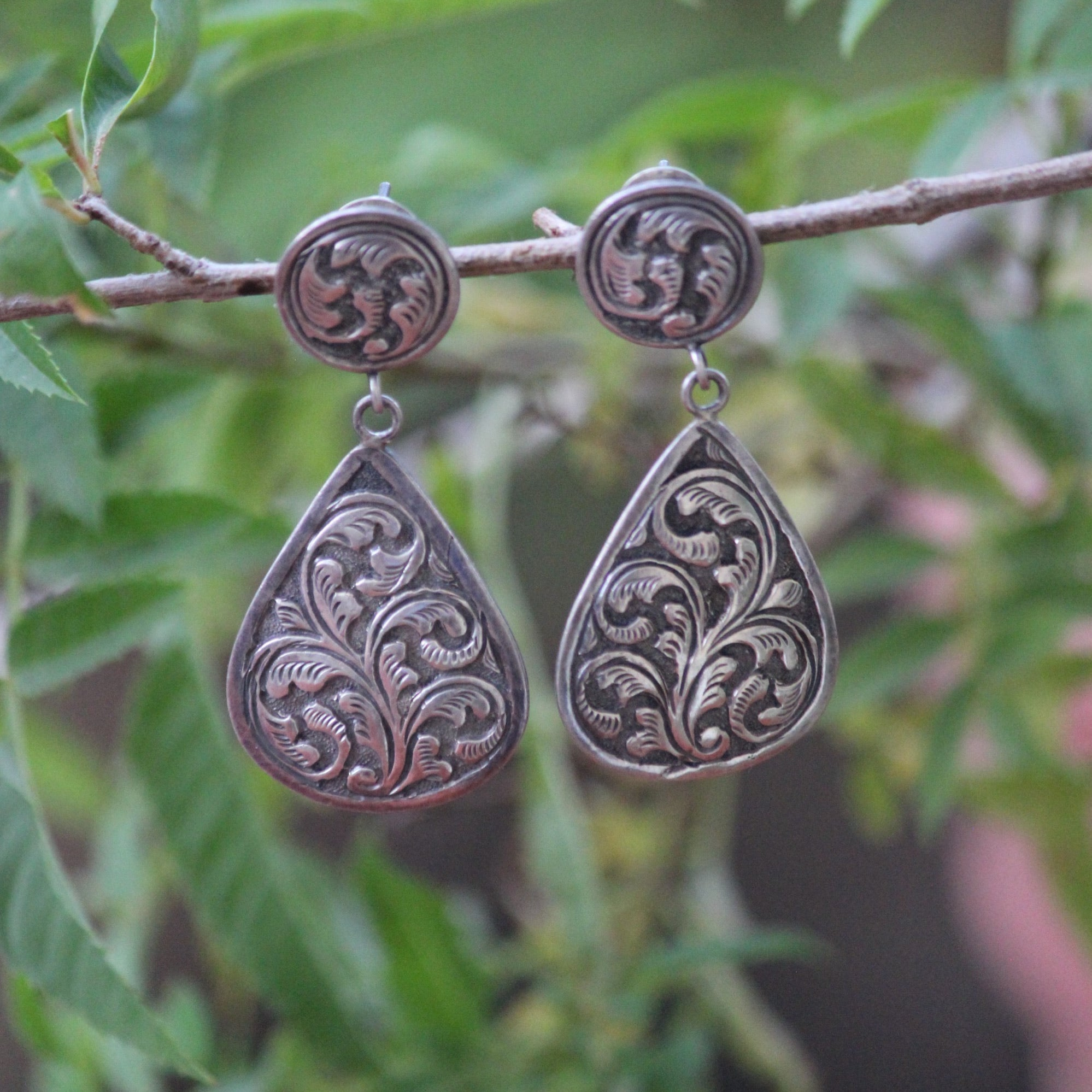 ENGRAVED TEARDROP DANGLERS