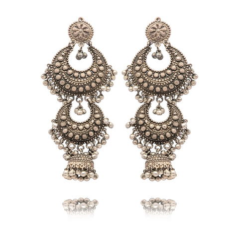 OXIDISED DOUBLE CHAND WITH JHUMKEE EARRINGS