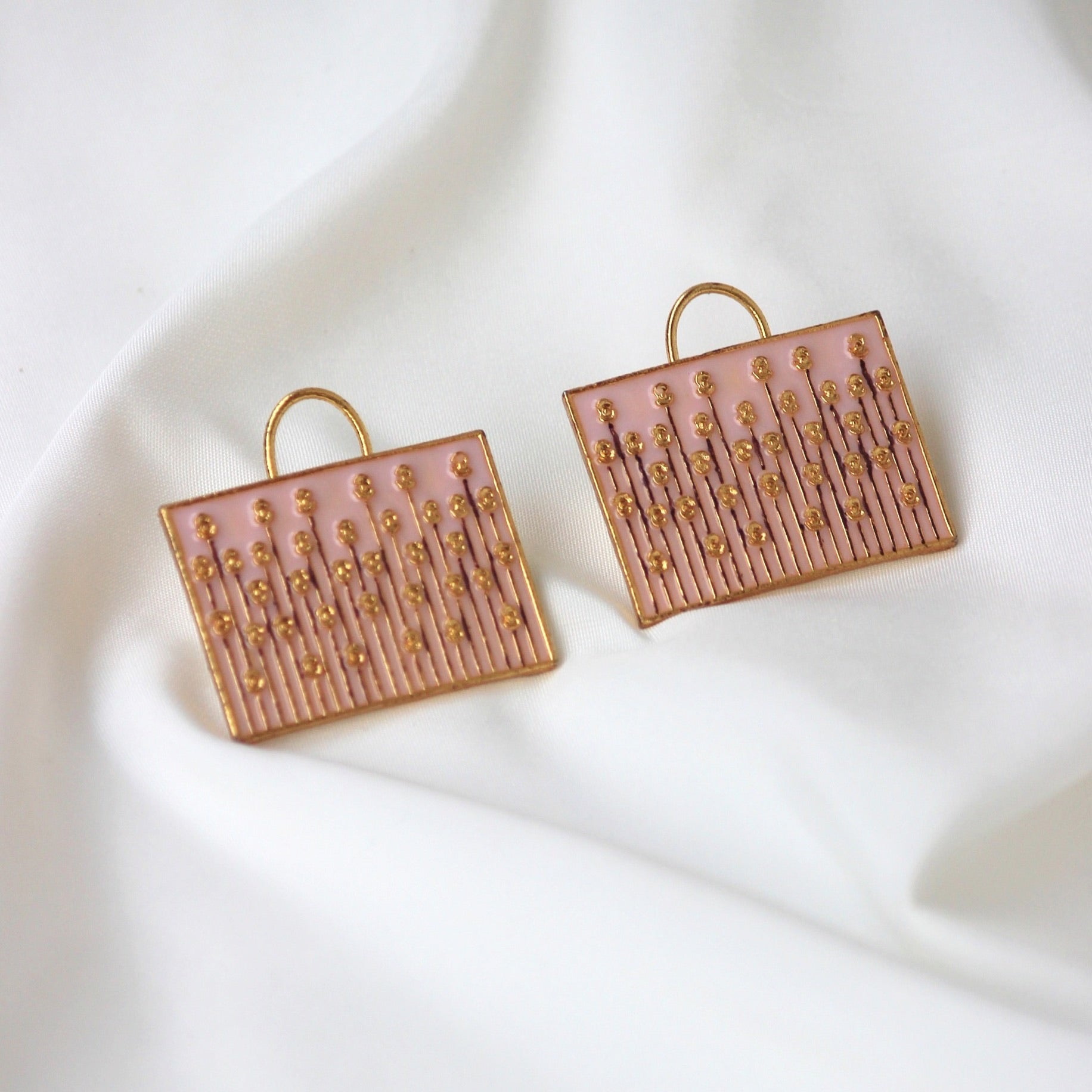 RECTANGLE MEENAKARI STUDS