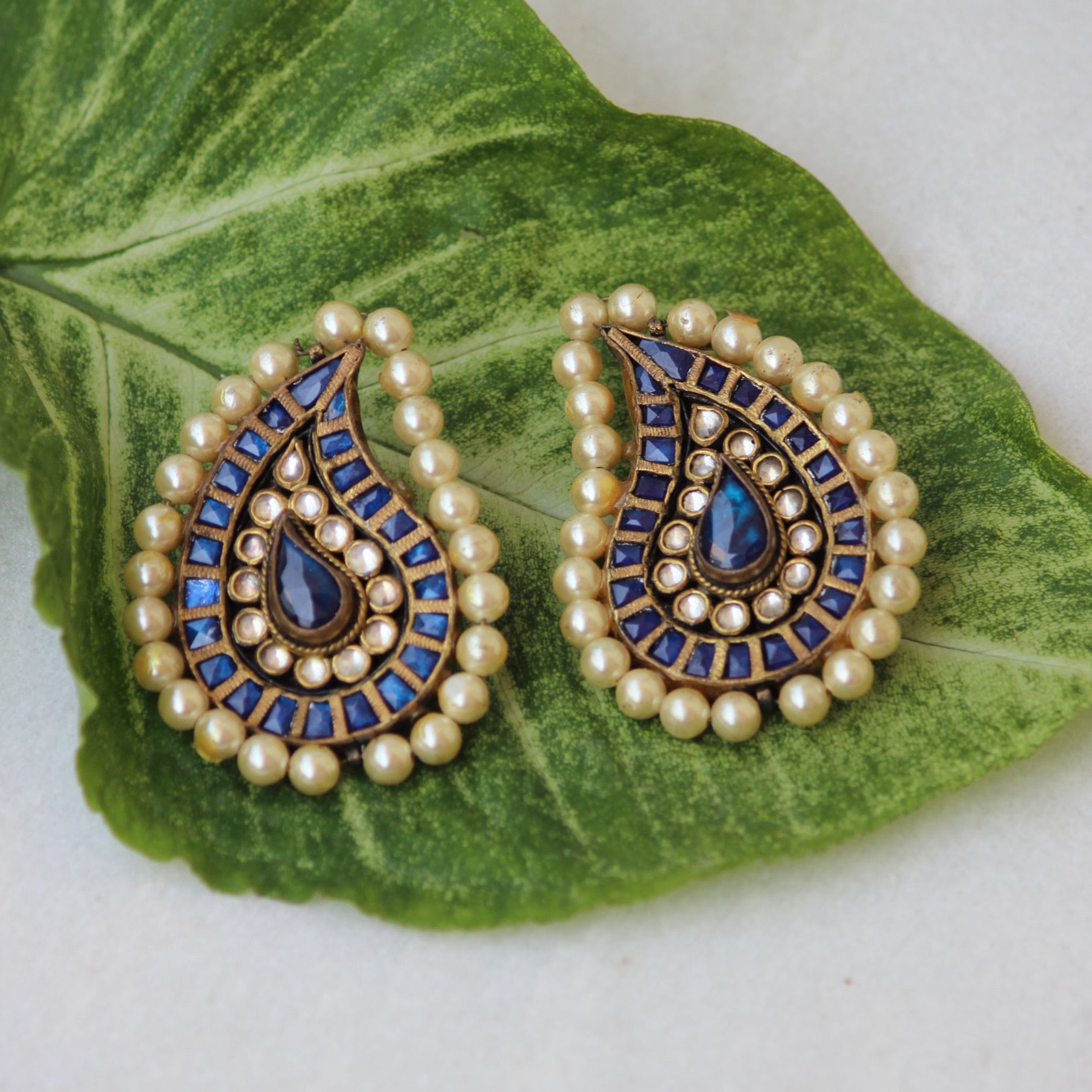MIDNIGHT BLUE PAISLEY EARRINGS