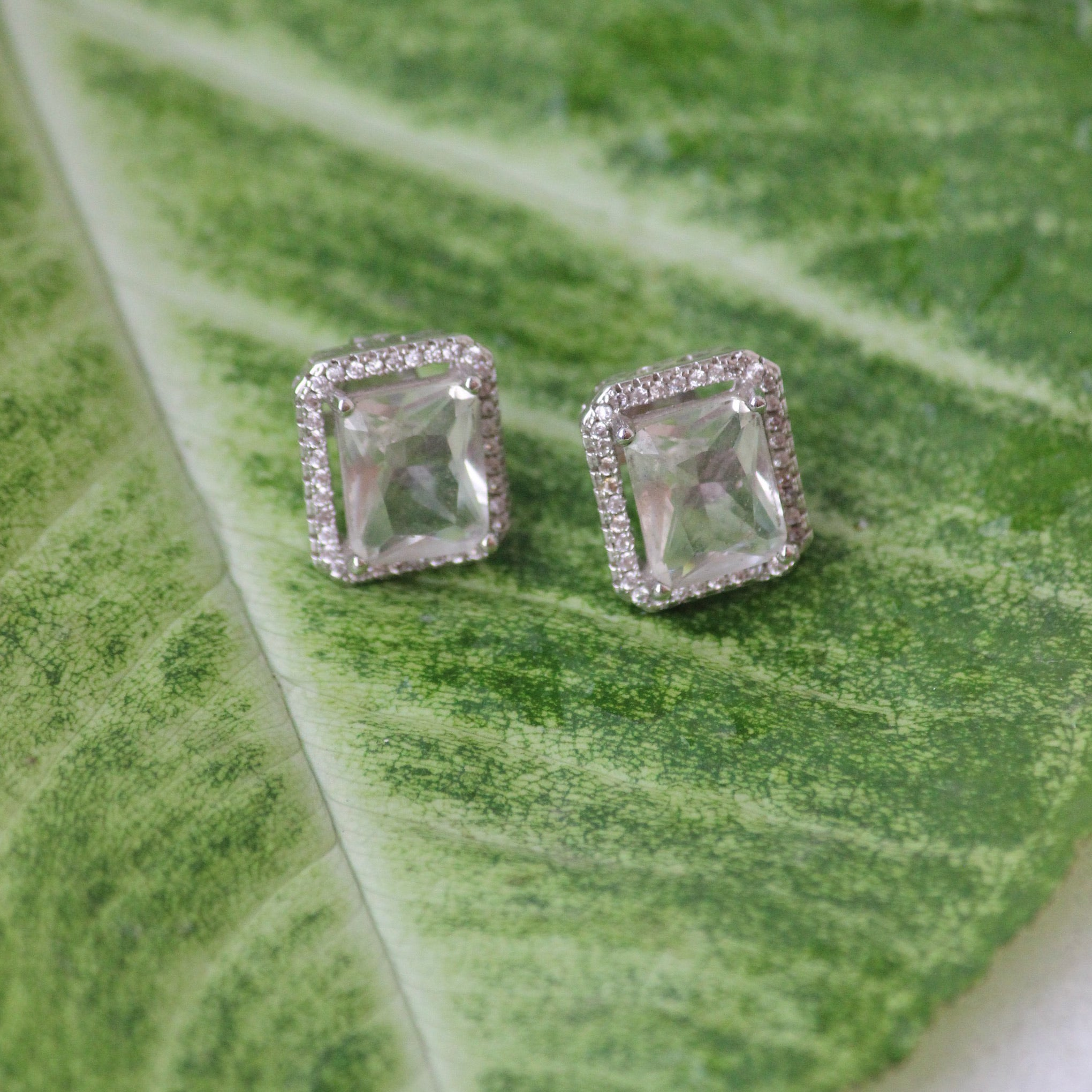 RECTANGLE CRYSTAL STUDS