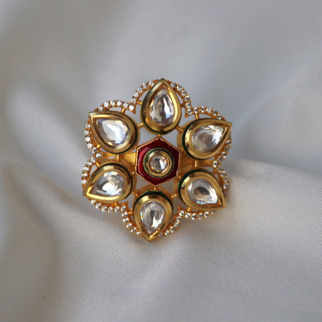 6 PETAL KUNDAN FLOWER RING