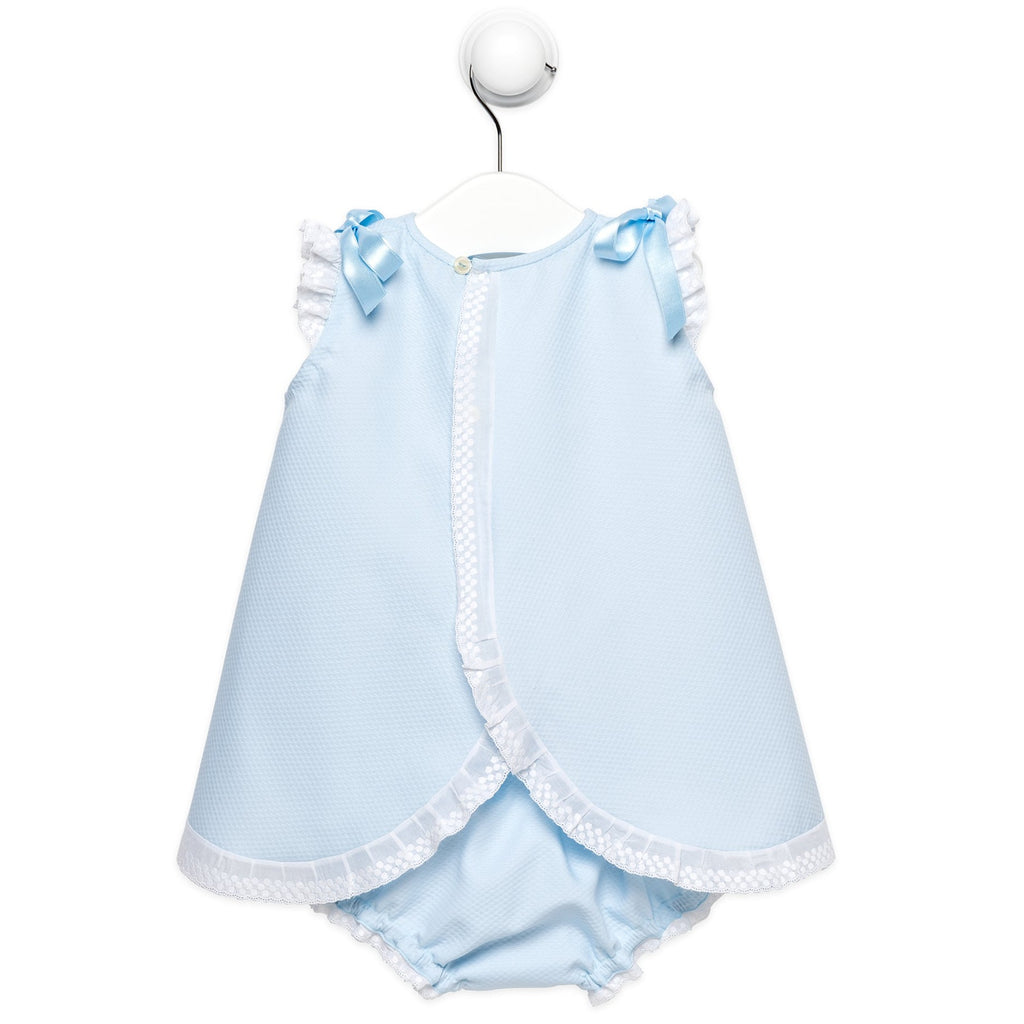 "Blue baby girl ""Milagros"" dress with bloomers"