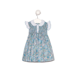 "Bespoke ""Tapita"" floral smocking dress with matching collar and sleeves"