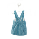 Baby girl set - Ocean blue corduroy dress and flower ruffled shirt