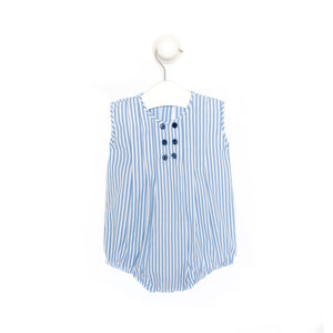 Baby Boy White and Blue Cotton Romper