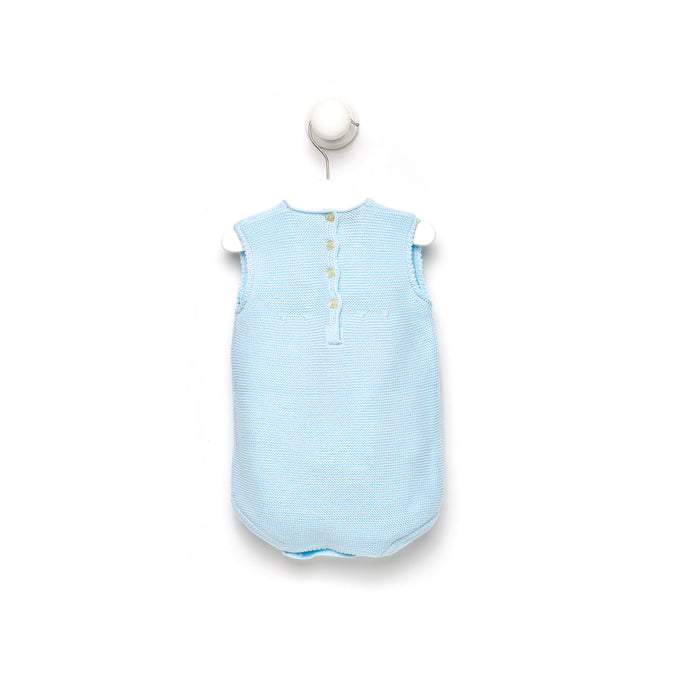 Blue knitted baby romper with lace neckline detail