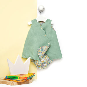 Aqua linen and Liberty baby girl dress with bloomers