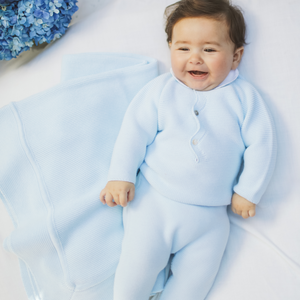 Light blue baby knit baby gift set