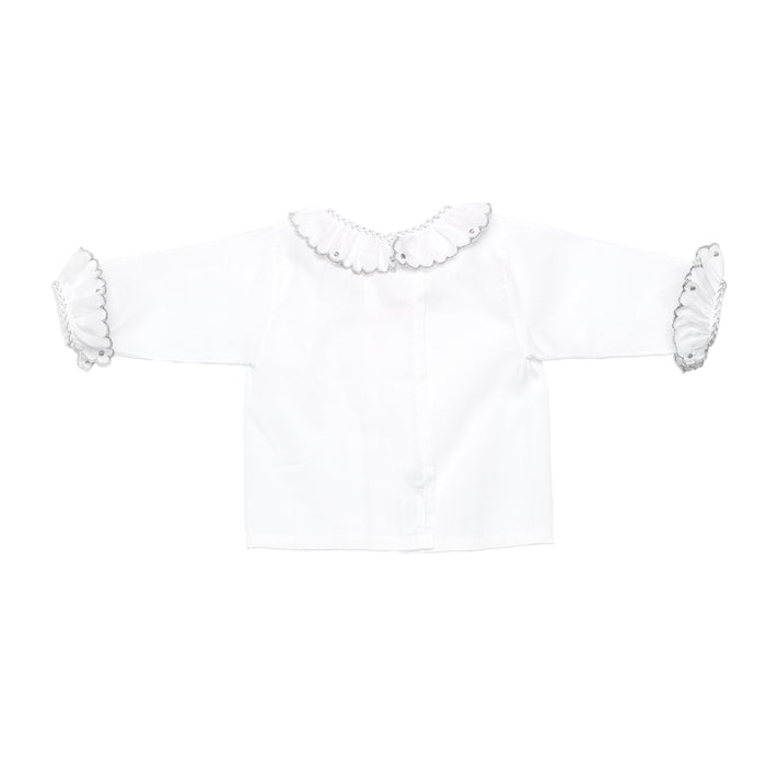 Long Sleeve Swiss Batiste White Shirt With Grey Detail