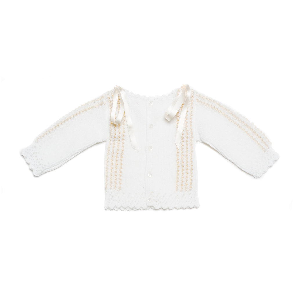 White and ivory newborn knitted set in wool