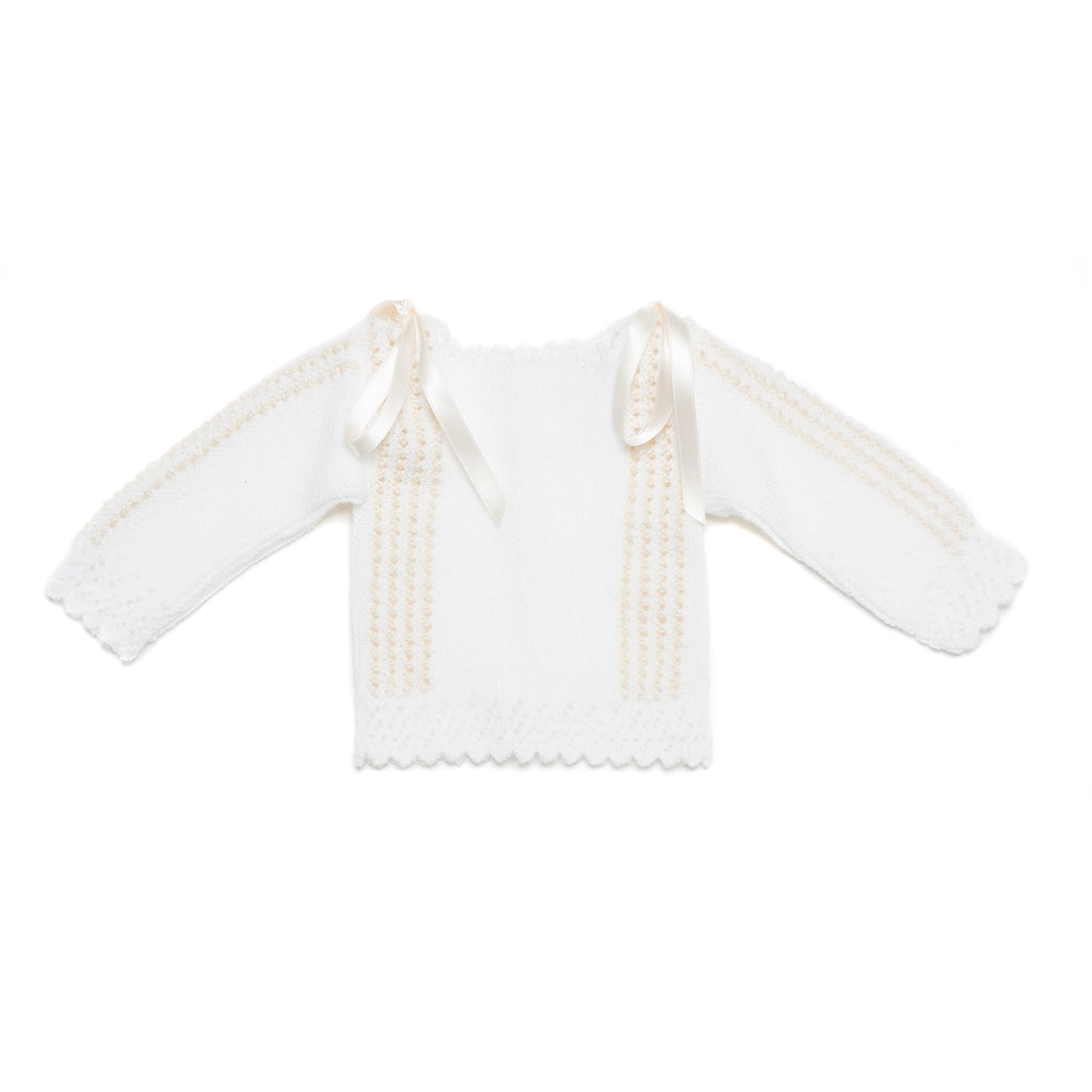 White and Ivory Wool Newborn Knitted Set