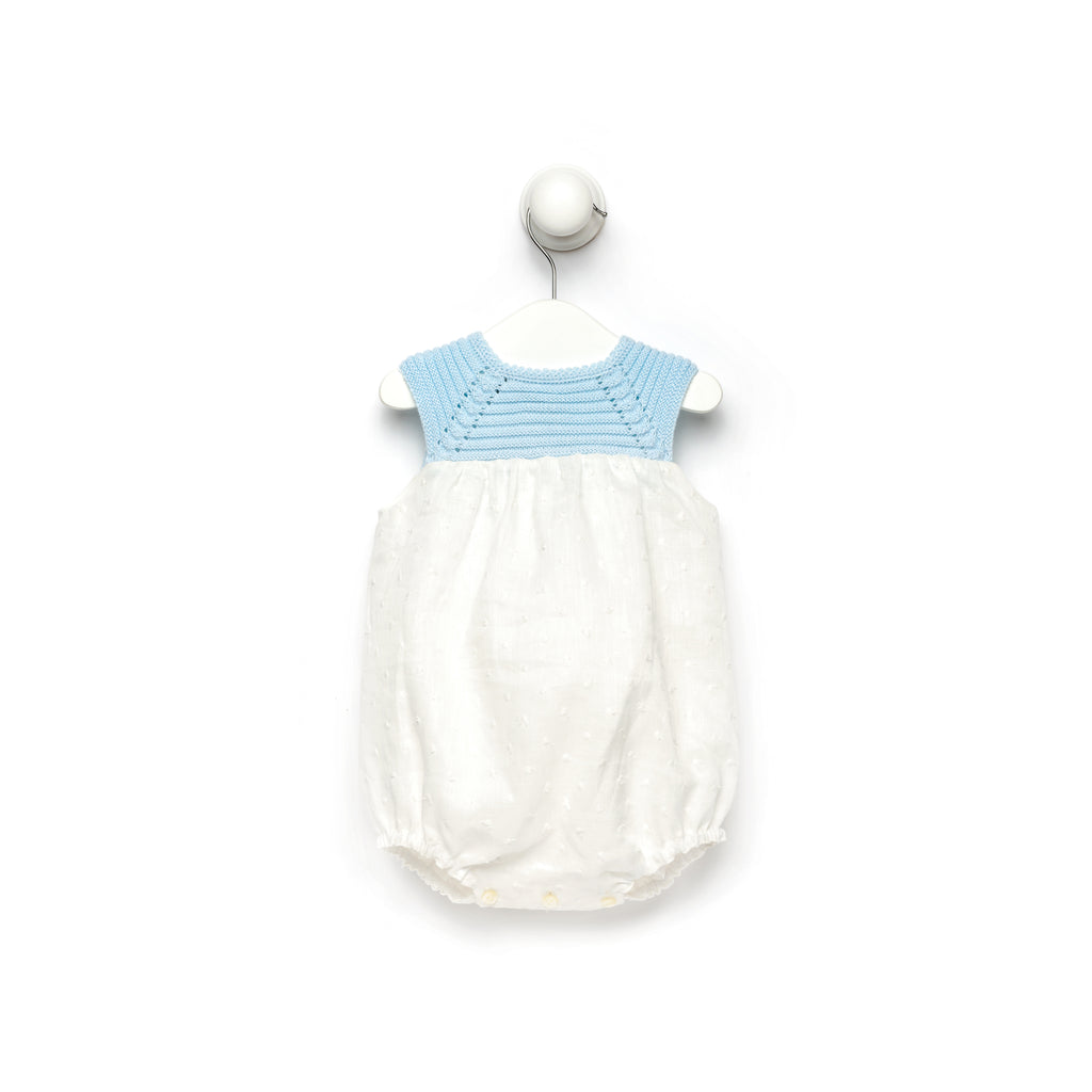 White and blue romper with knitted top