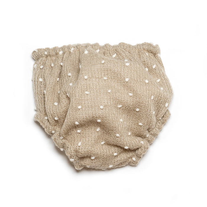 Ivory Baby Girl Bloomers with Polka Dot Details