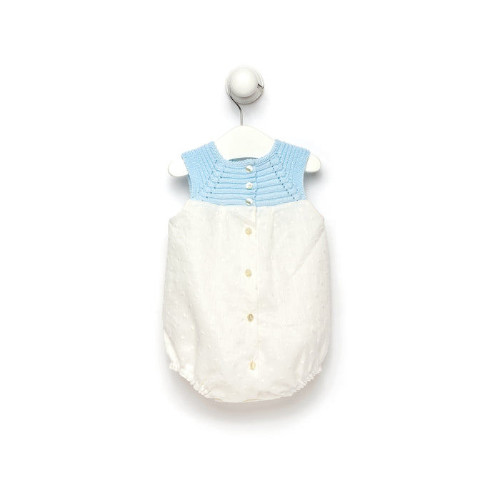 Swiss dot cotton romper with knitted top