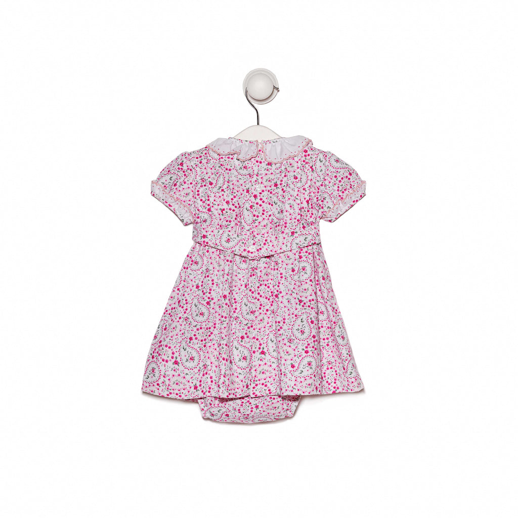 Bespoke Floral smocking dress with frill neck and cap sleeves
