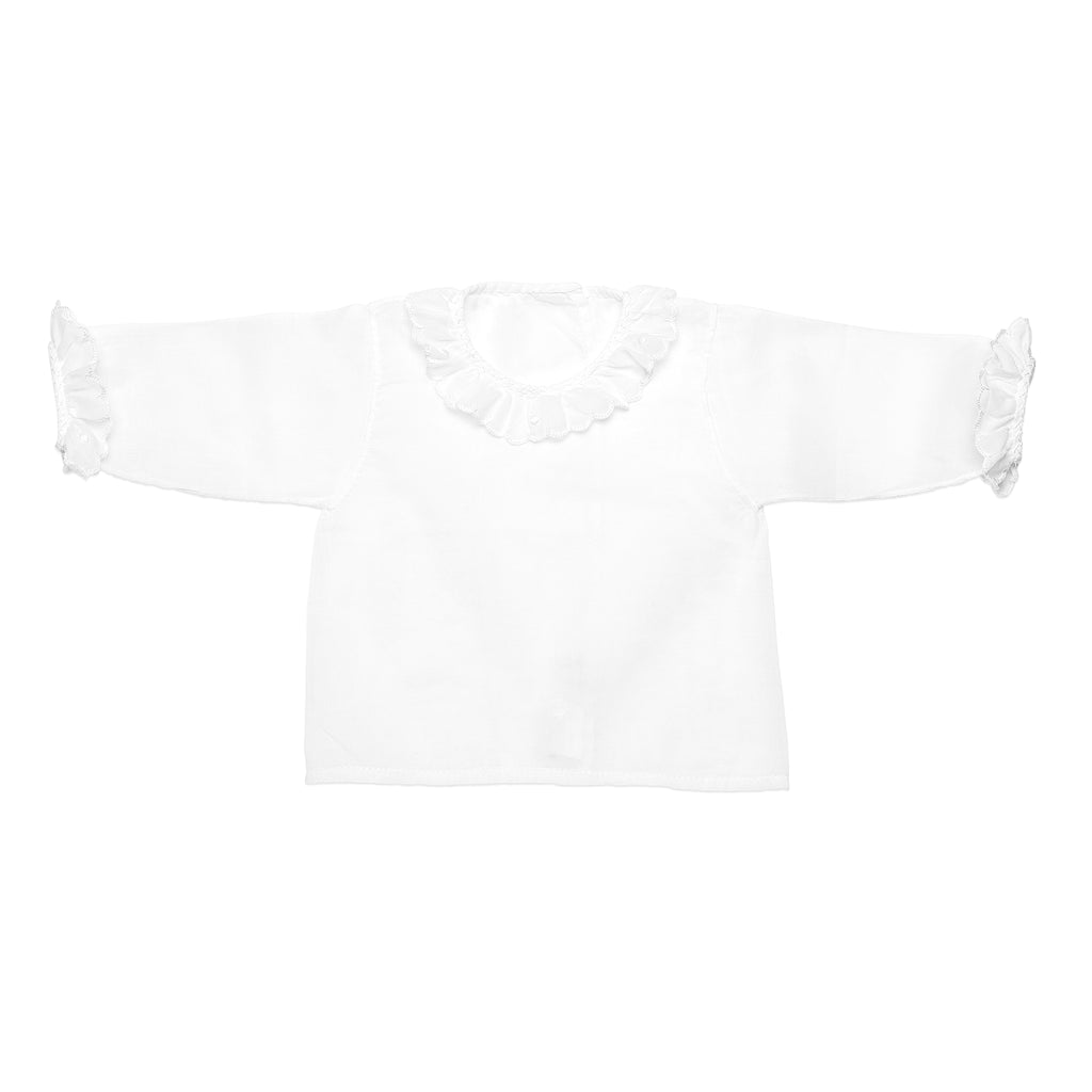 White newborn swiss batiste shirt with long sleeve