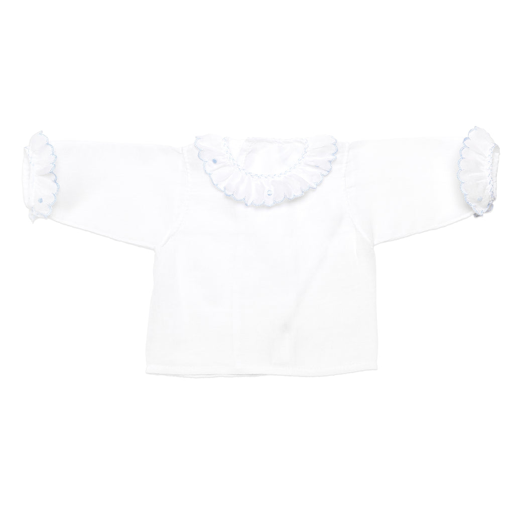 White newborn batiste shirt with blue finishes
