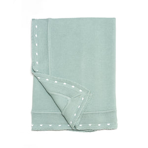 "Aqua Knitted Cotton Blanket (33.5"" x 33.5"")"
