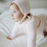 Pink baby girl knit set - jersey with lace frill collar, leggings and bonnet