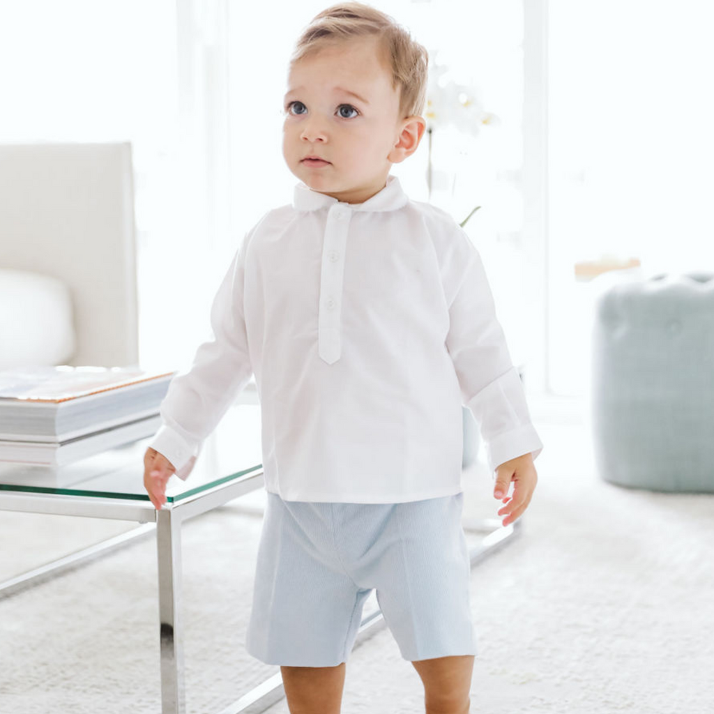Baby boy light blue set - White cotton shirt and blue corduroy pants