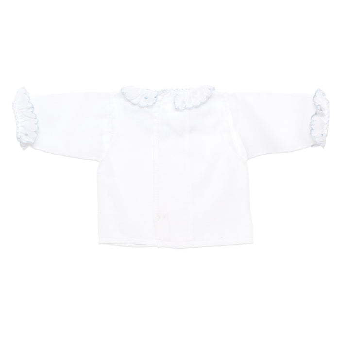 Long Sleeve Swiss Batiste White Shirt With Blue Detail