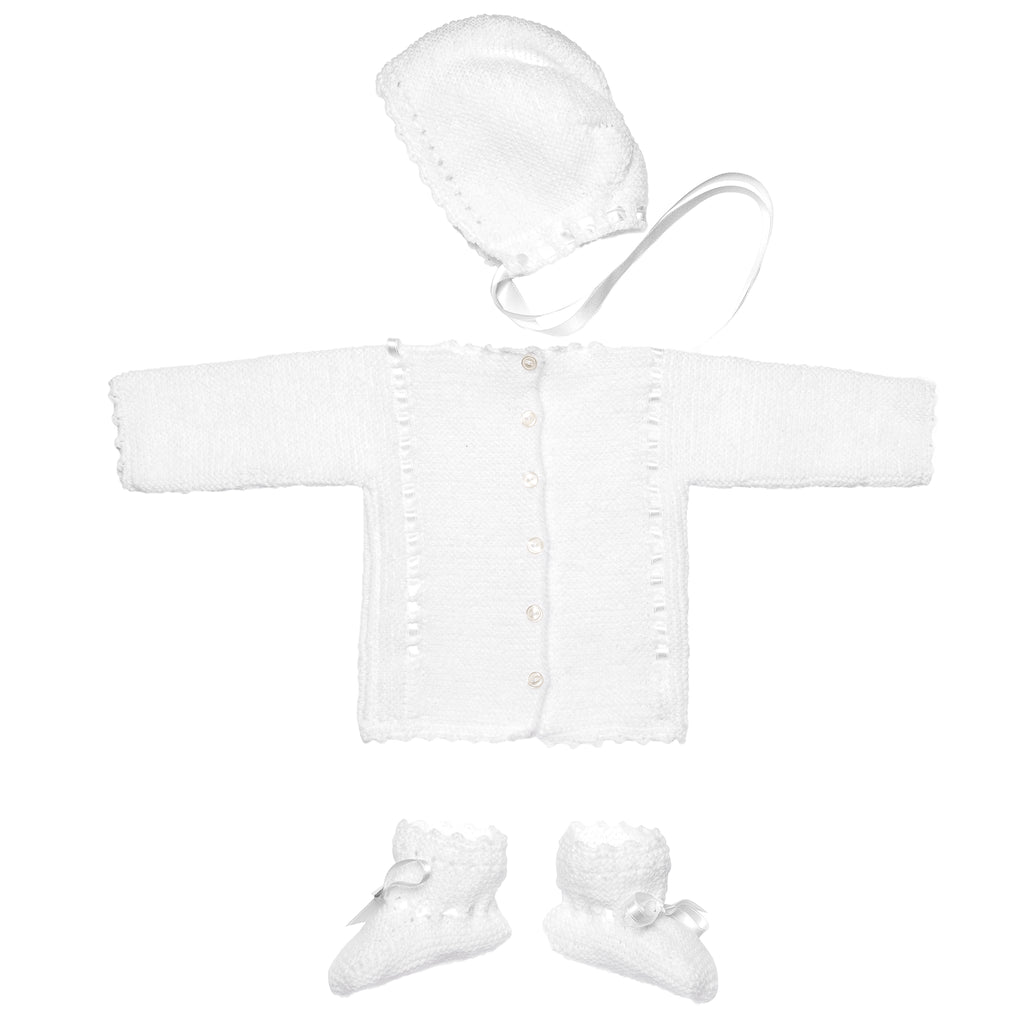 White Wool Newborn Knitted Set