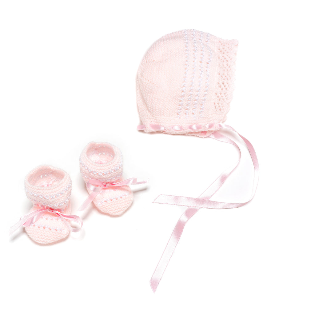 "Pink and white newborn 3 piece ""Spanish Faldón"" with pink knitted top, booties and bonnet"