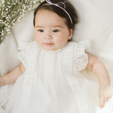 Alexia ivory organza baby girl dress with bloomers
