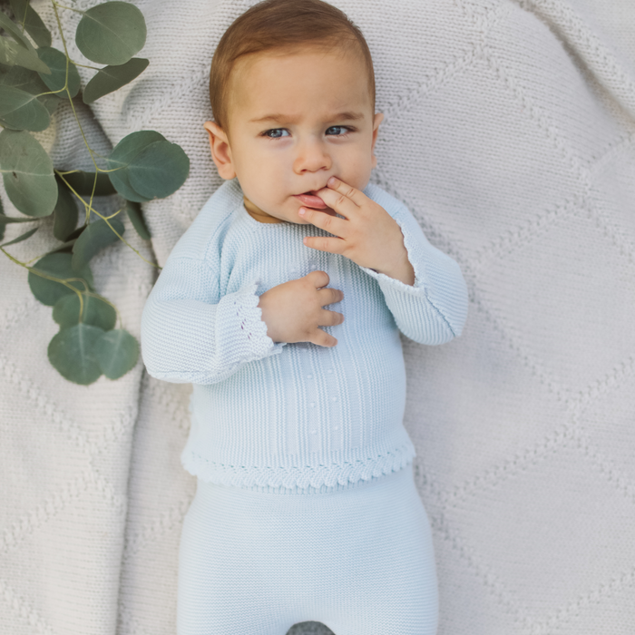 Clear blue wool baby knit set
