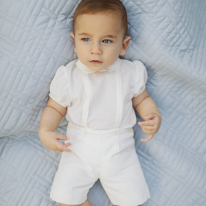Bespoke ivory baby boy button on suit - cotton pique trousers with cap sleeves shirt