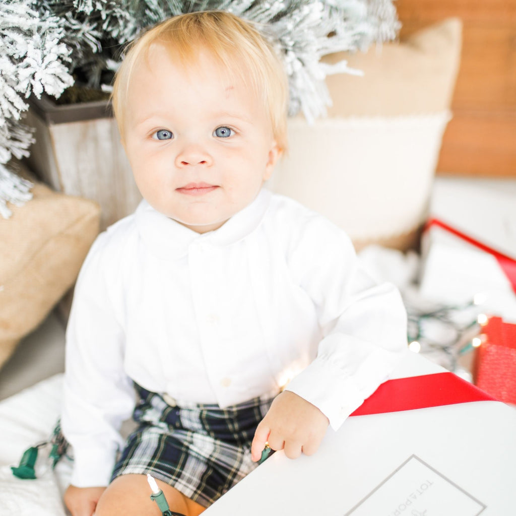 Baby boy Christmas button on suit - Plaid viyella short pants and long sleeves shirt