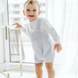 Baby boy grey corduroy - Grey romper and white Long sleeve shirt