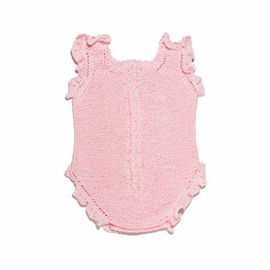 Pink newborn sleeveless bodysuit and shoes set in Perlé Cotton
