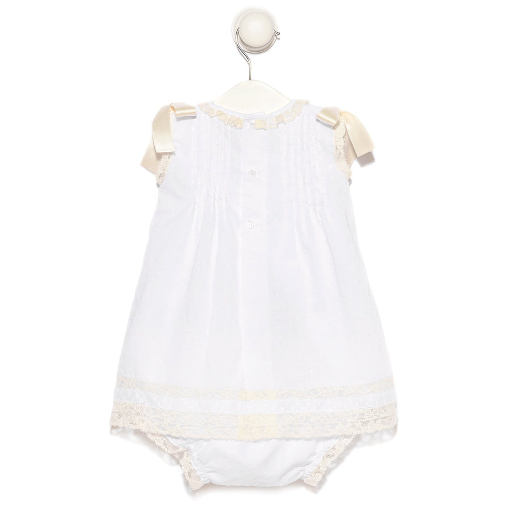 Ivory baby girl plumetis dress with bloomers