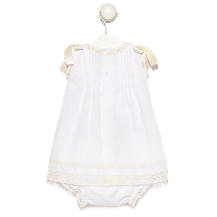 Ivory baby girl plumetis dress