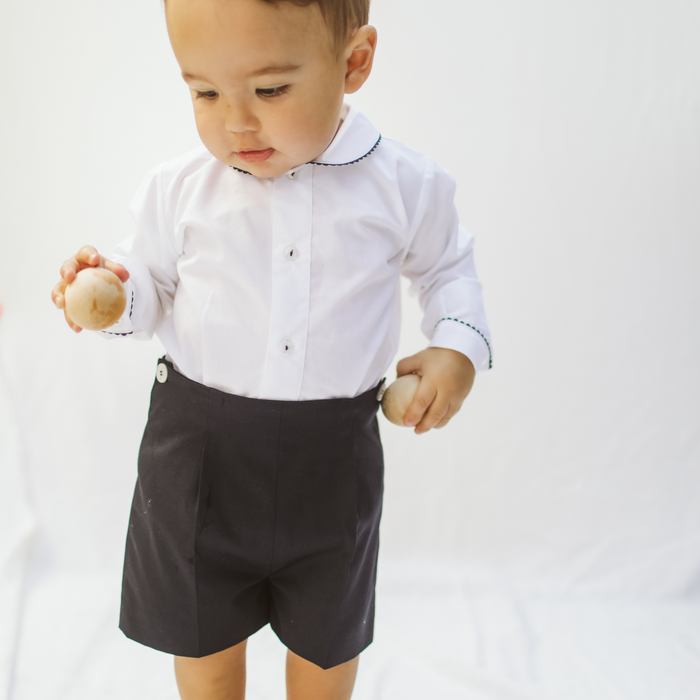 Baby boy button on suit - Long sleeve white shirt and navy short pants