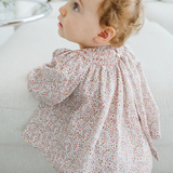 Bordeaux floral jesucito baby girl viyella dress with longsleeves