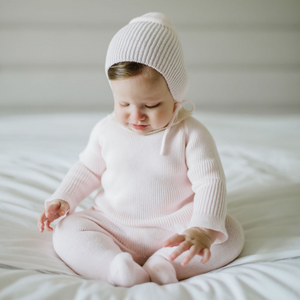 Pink baby girl knit set