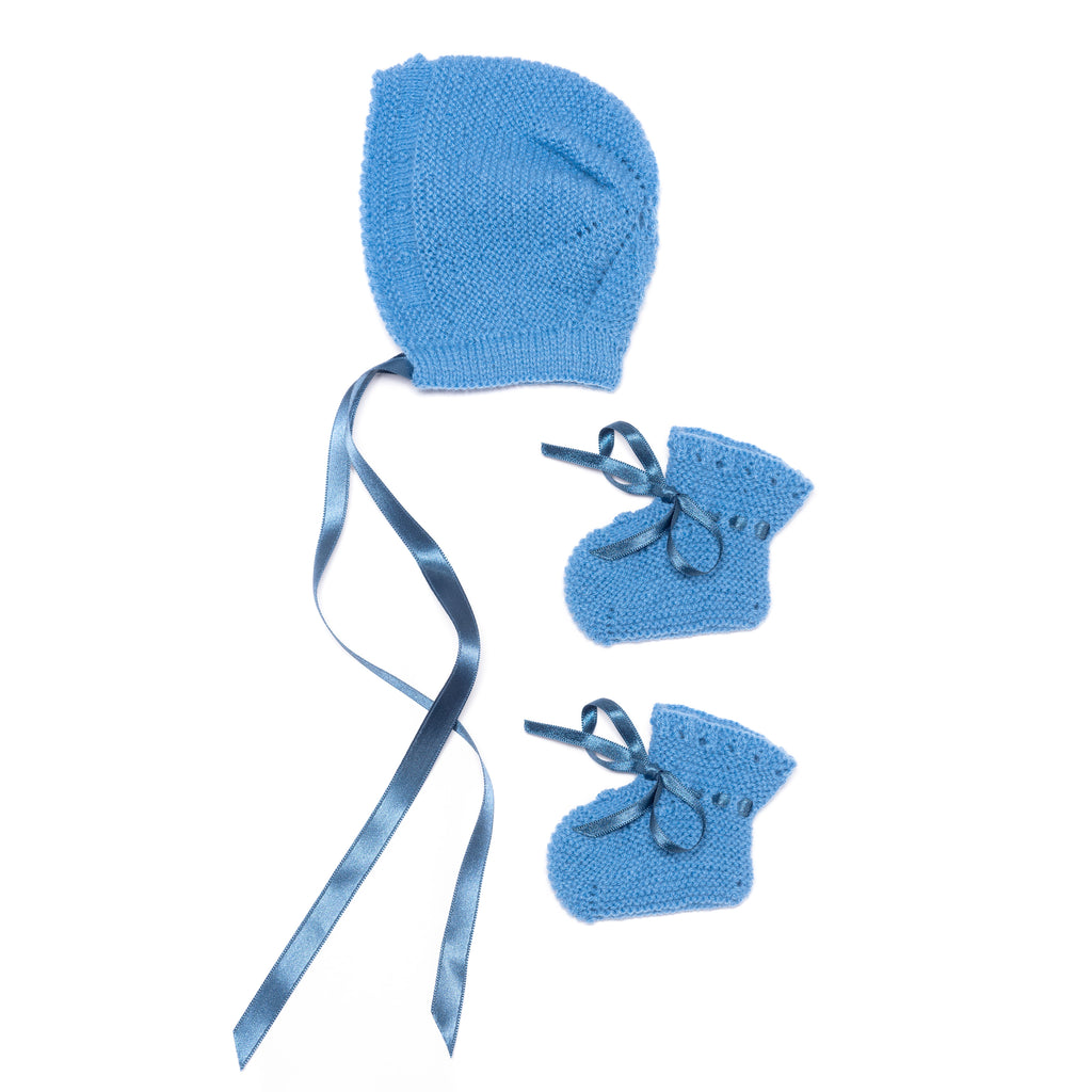 "Blue and white newborn ""Spanish Faldón"" with blue knitted top, booties and bonnet"